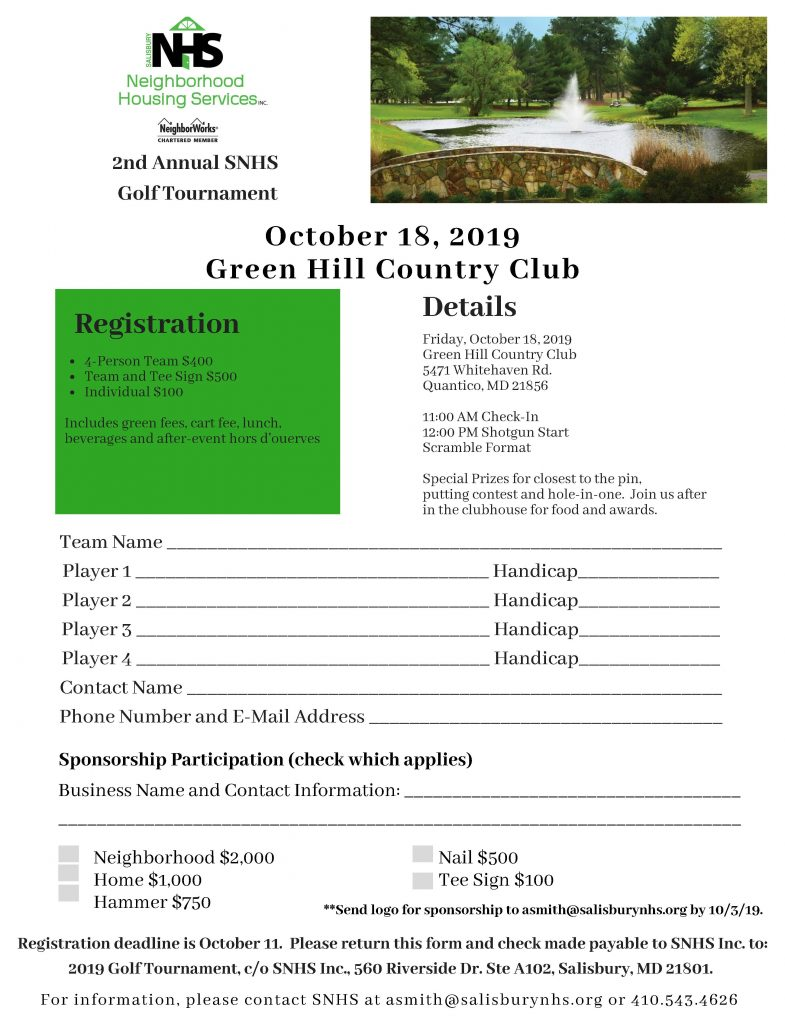 Salisbury Neighborhood Housing Golf Tournament Fundraiser